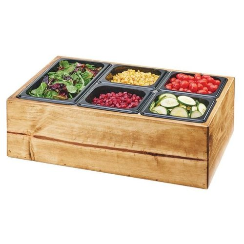 Madera Reclaimed Wood Salad Station with Clear Ice Liner & 5 Black Pans - 22 x 14 x 7 in.