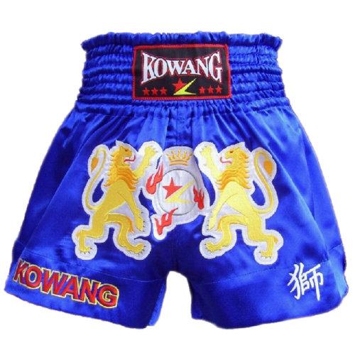 Double Lions Blue MMA Shorts Kick Boxing Fight Trunks Muay Thai Satin Brief, XXL