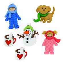 Fun in the Snow - Winter Design Novelty Craft Buttons / Embellishments by Dress It Up