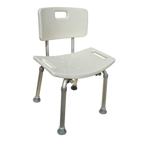 Shower Bath Stool Chair With Contour Seat - Height Adjustable Aluminium Frame