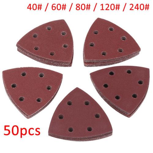 50pcs/Set 40# 60# 80# 120# 240# Triangle Sanding Disc Sheet  Sandpaper Pads UK