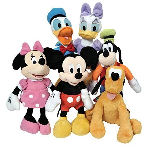 Disney 11 Plush Mickey Minnie Mouse Donald Daisy Goofy Pluto Clubhouse  6-Pack + Stickers