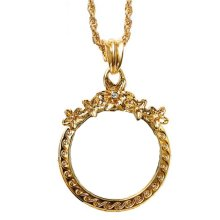Fashion Magnifying Glass Necklace Flower-shaped Hanging Jewelry, Gold
