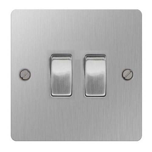 British General SBS42 Stainless Steel Light Switch 2 Gang, 2 Way