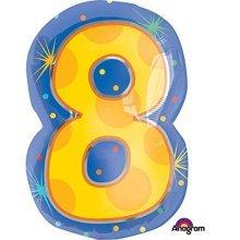 Confetti Dots Number 8 Junior Shape Foil Balloons 14/35cm W x 21/53cm H S60 -