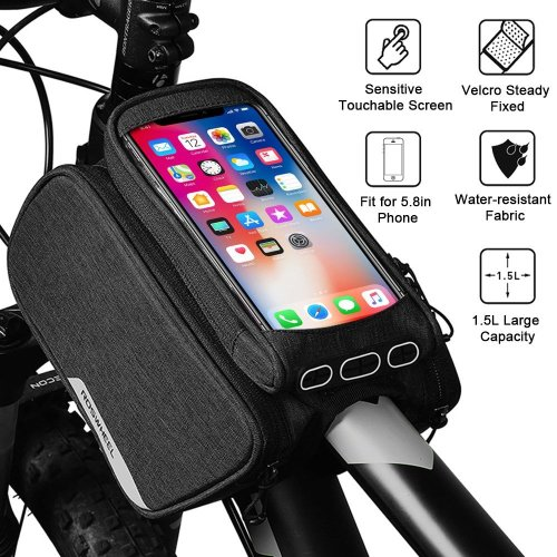 WOTOW Unisex's ZXC-003 Bike Frame Pannier Cell, Bicycle Front Top Tube Touchscreen Rain Proof Rack Mountain Road Cycling Pack Double Pouch Mount...