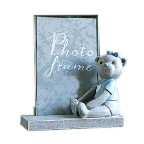 6-inch Photo Frame Lovely Bear Painted Photoframe and Home Decoration, Blue