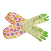 2 Pairs Rubber Cleaning Gloves with Lining Long Dishwashing Gloves, Green Dot