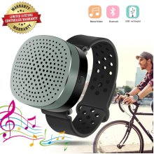 Bluetooth Smart Watch Speaker Portable Wireless Bluetooth Speaker Watch Smart Bracelet Speaker Wrist Music Player Supporting USB Recharged (Black)