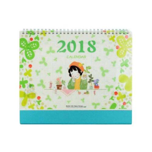 Elegant Flowers Style 2017-2018 Office/Home Calendar Desk Calendar-Blue