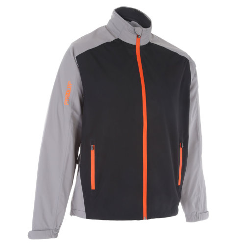 ProQuip Golf Mens Aquastorm PX1 Waterproof Rain Jacket Full Zip Grey/Black/Orange 2X-Large