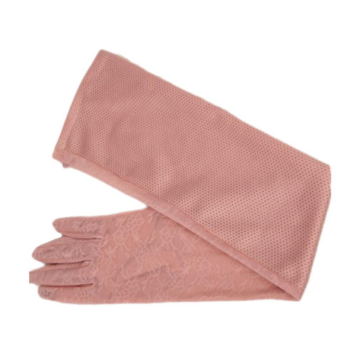 Lace Cotton Outdoor Sunscreen Clothing Women Gloves Breathable Thin Sun Protective Clothing Sleeves-Deep Pink