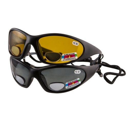 2 Pairs Polarised Fishing Glasses with Bifocal Lenses +2.50