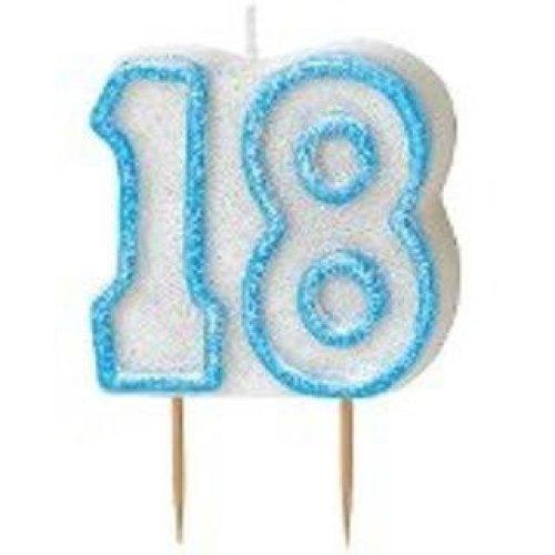 Age 18 Birthday Candle Blue Glitz