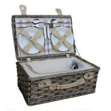 4 Person White Chilled Wicker Fitted Picnic Basket