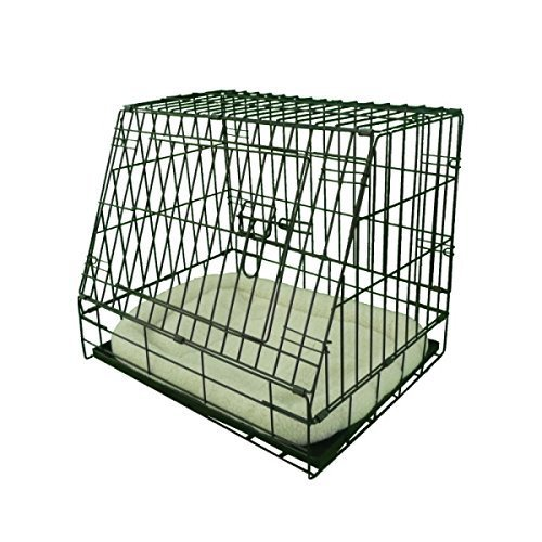 Ellie-Bo Deluxe Sloping Puppy Cage Folding Dog Crate with Non-Chew Metal Tray Fleece and Slanted Front for Car, Small, 24-inch, Black