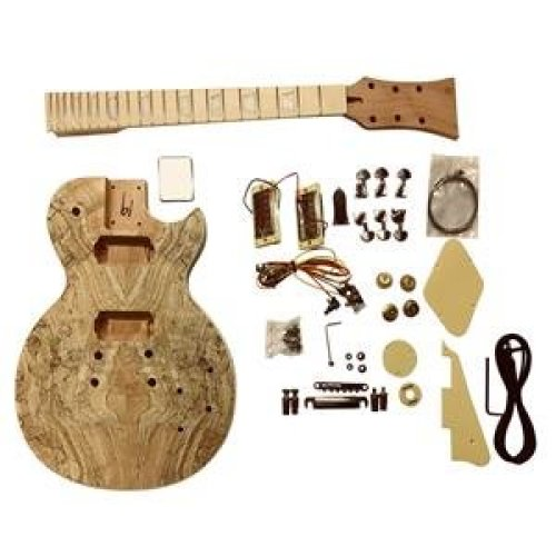 Electric guitar DIY kits, GDLP710MS LP style Solid Mahogany body with Spalted Maple Veneer