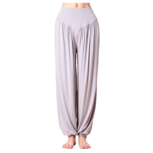Solid Modal Cotton Soft Yoga Sports Dance Fitness Trousers Harem Pants, B