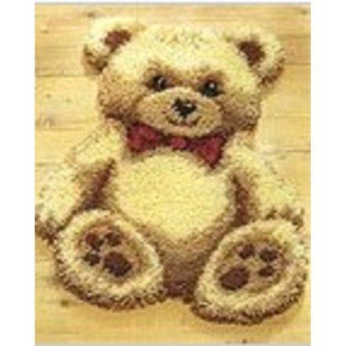 """Latch Hook Rug Kit""""Cuddly Teddy""""52x42cm Shaped"""
