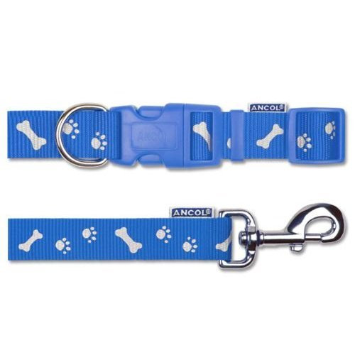 Nylon Lead Reflective Paw N Bone Blue 1M X19Mm