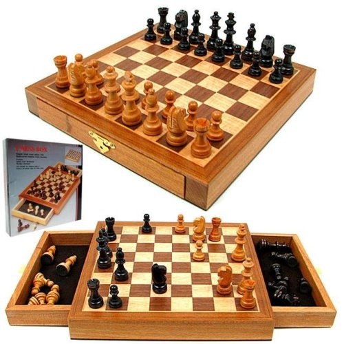 Elegant Inlaid Wood Cabinet with Staunton Wood Chessmen
