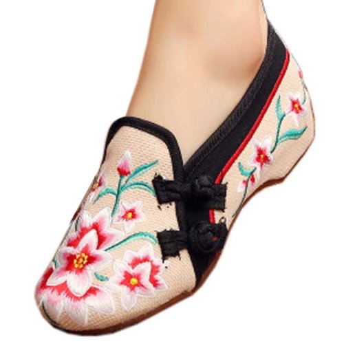 Vintage Design Chinese Shoes Embroidered Flats Cheongsam Shoes, #01