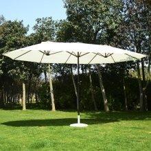 Outsunny Cream Double Garden Parasol   Outdoor Sun Umbrella 4m x 2m