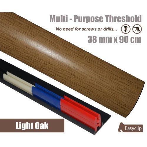 Light Oak Multi Purpose Threshold Strip 38x90cm Adhesive Clip System