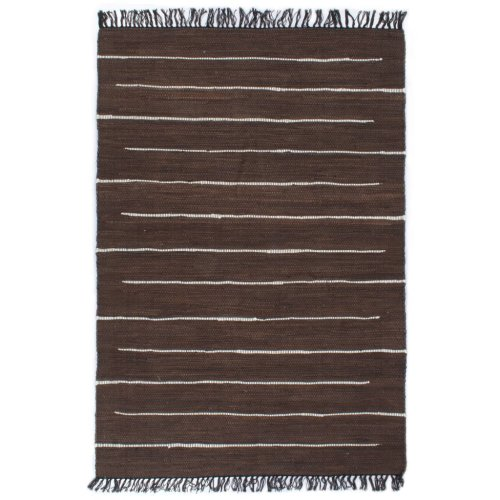 vidaXL Hand-woven Chindi Rug Cotton 80x160cm Brown Home Room Floor Carpet Mat