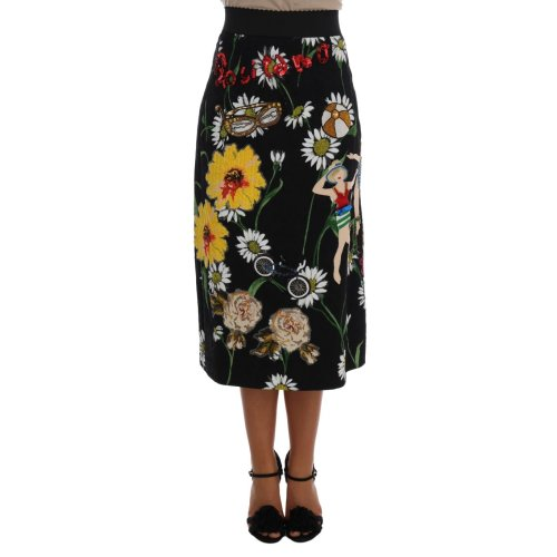 Dolce & Gabbana Black Embellished Daisy Brocade Skirt
