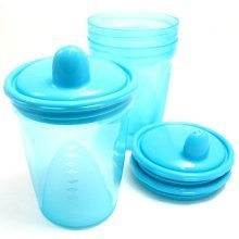 Griptight - 3 Travel Sipper Beaker Cups 200ml (Blue)