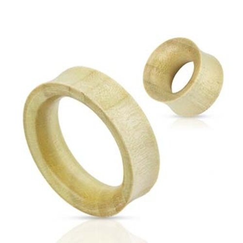 Urban Male Pair Of Organic White Crocodile Wood Double Flared Flesh Tunnels 5mm
