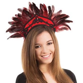 Bristol Novelty Red Feather Carnival Headdress