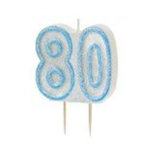 Age 80 Birthday Candle Blue Glitz