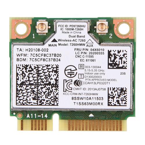 Intel 7260 7260HMW AC Dual Band WiFi 4.0 Wlan Mini PCIE 04X6010 Card