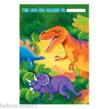 Amscan Gift Bag For Present, Dinosaur Party, 8 St. - Party Prehistoric Bags -  party prehistoric dinosaur bags loot 8 pack plastic DINOSAUR GIFT BAG