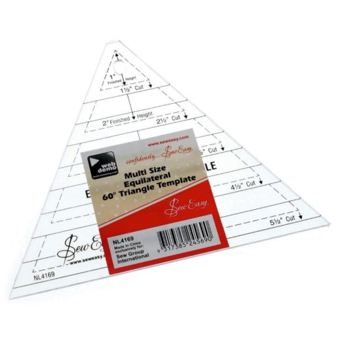 Sew Easy Patchwork Quilting Multi Sized 60 degree Triangle Template