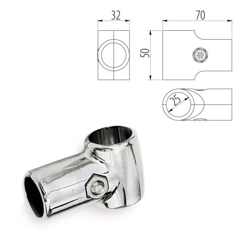 Pole / Rail Connector / Sleeve Holder T Socket / 3 way / Joiner for 25mm Tube