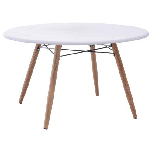 HOMCOM Modern Scandinavian Round Coffee Side Table With Solid Pine Legs White 80x45cm