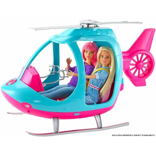 Barbie FWY29 Travel Helicopter - Blue & Pink With Moving Rotors