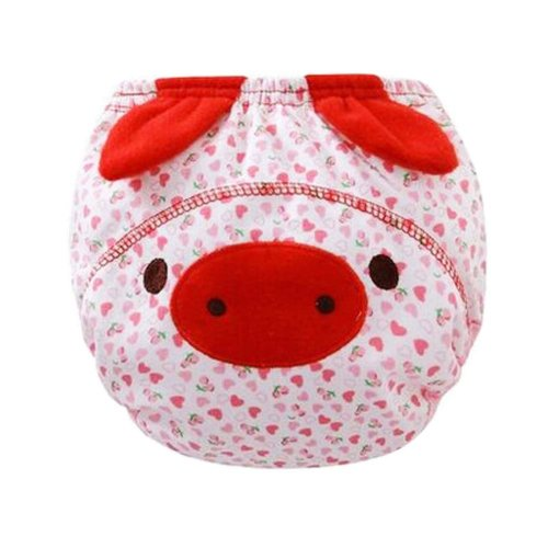 Set of 2 Leak-proof Newborn Baby Diapers Breathable with Pig Pattern