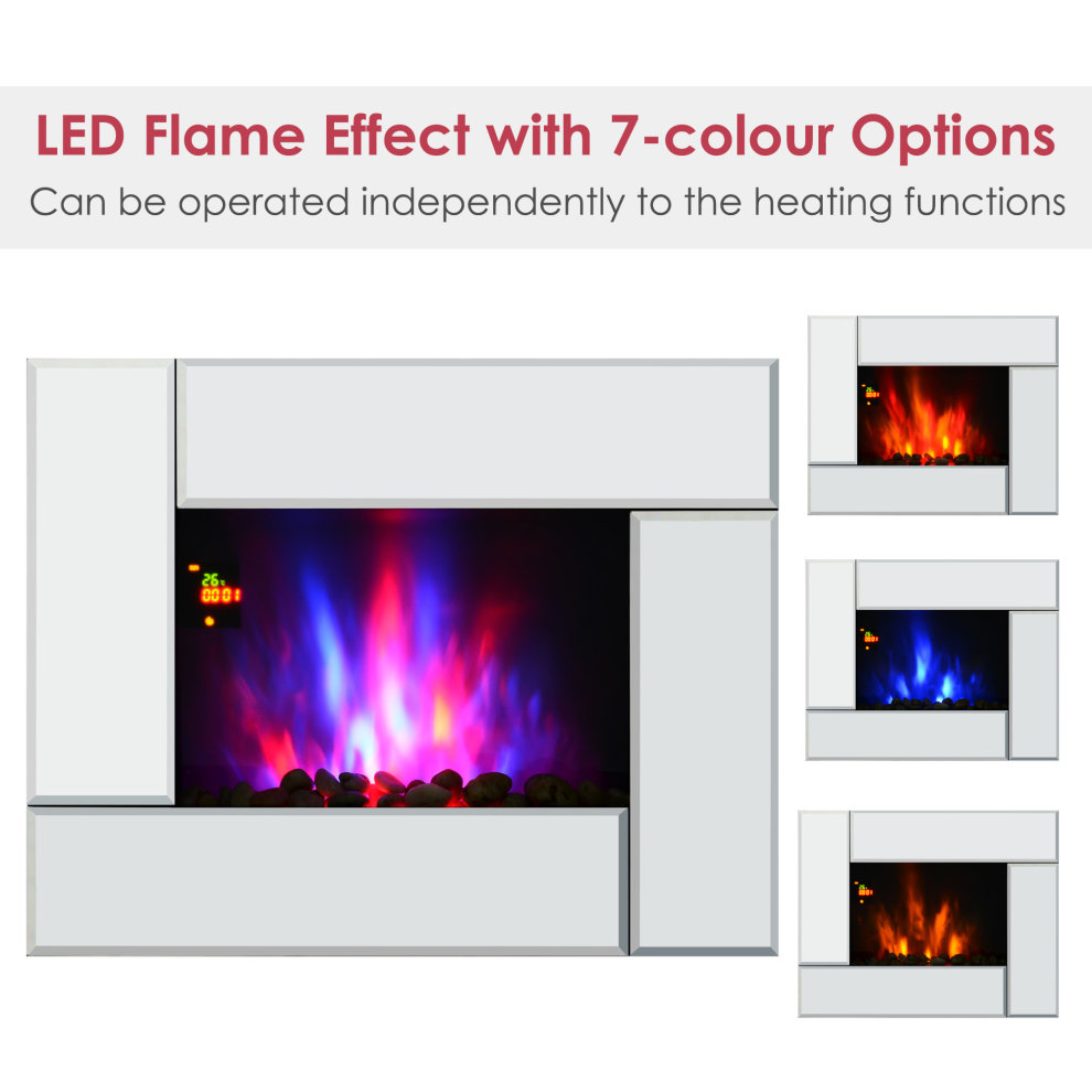 Tremendous Homcom 1800W Wall Mounted Electric Fireplace Heater 7 Coloured Led Lighting Fire Glass Screen With Pebble Effect Remote Control Download Free Architecture Designs Griteanizatbritishbridgeorg