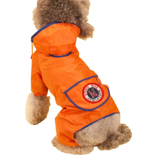 Fashion British Style Puppy Pet Dog Raincoat Pet Gear Rain Jacket ORANGE, L