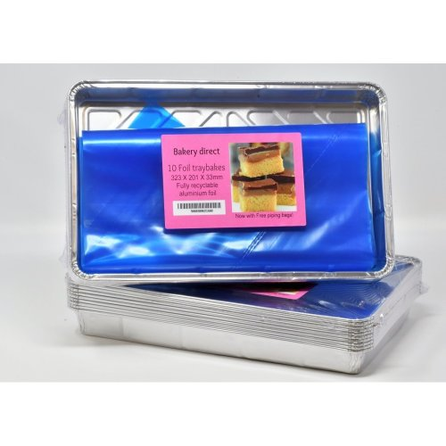 "10 Large Foil Tray Bake containers Aluminium Recyclable 12 x 8"" Includes 2 Free 21"" Disposable Piping Bags!"