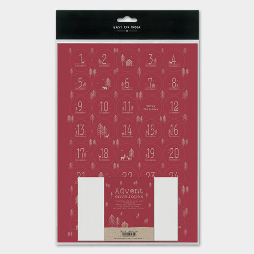 East of India Advent calendar 24 envelopes and sheet of stickers BURGANDY RED DIY ADVENT