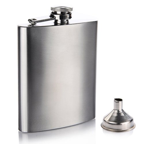 Trixes Stainless Steel 7oz/198ml Hip Flask with Funnel