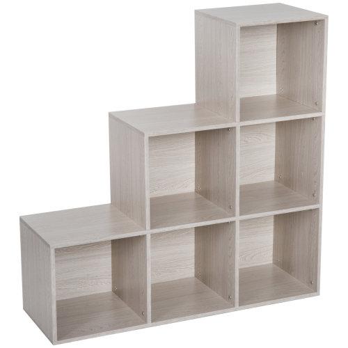HOMCOM 3-tier Step 6 Cubes Storage Unit Particle Board Cabinet Bookcase Organiser Home Office Shelves - Wood Grain Colour