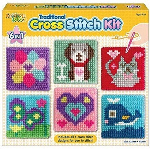 6 in 1 Traditional Cross Stitch Kit for Kids