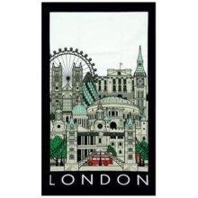 London Landmarks Cityscape Tea Towel Souvenir Gift Collage Bridge St Pauls Montage