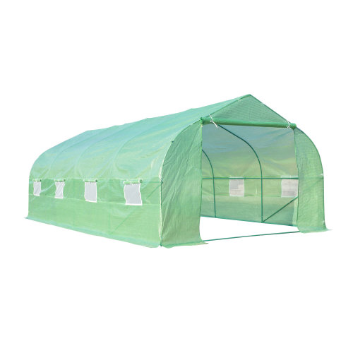 Outsunny Large Walk-in Outdoor Garden Peak Top Greenhouse Polytunnel with Door and 8 Windows (6 x 3 x 2M)